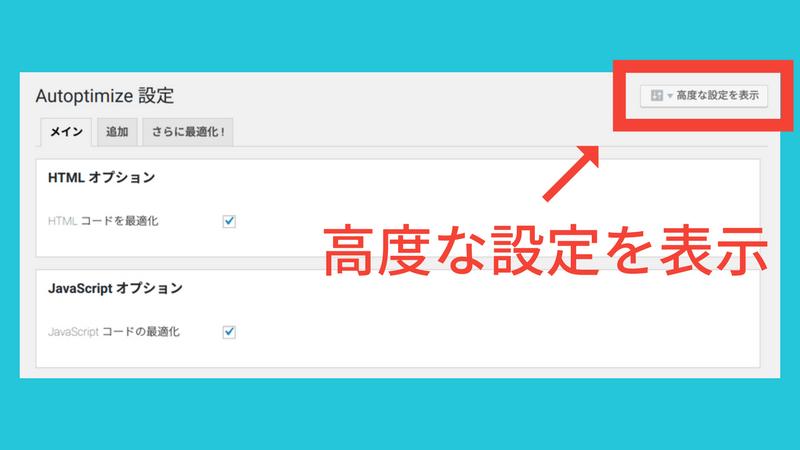 Autoptimizeの高度な設定を表示をクリック