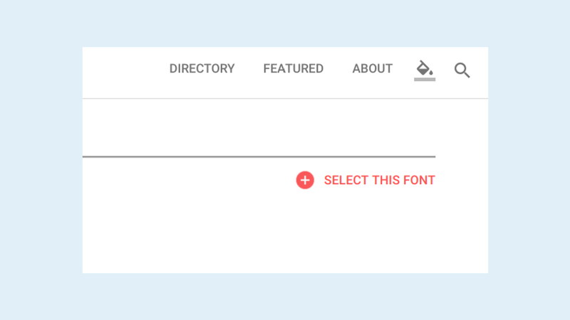 Google Fontsの各フォントページ右上にあるSELECT THIS FONT