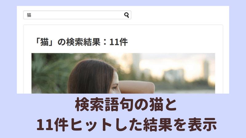 検索結果ページに表示される検索語句とヒット件数