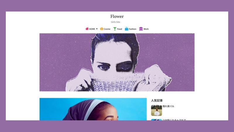 グローバルメニューの下に画像ウィジェットを設置した例