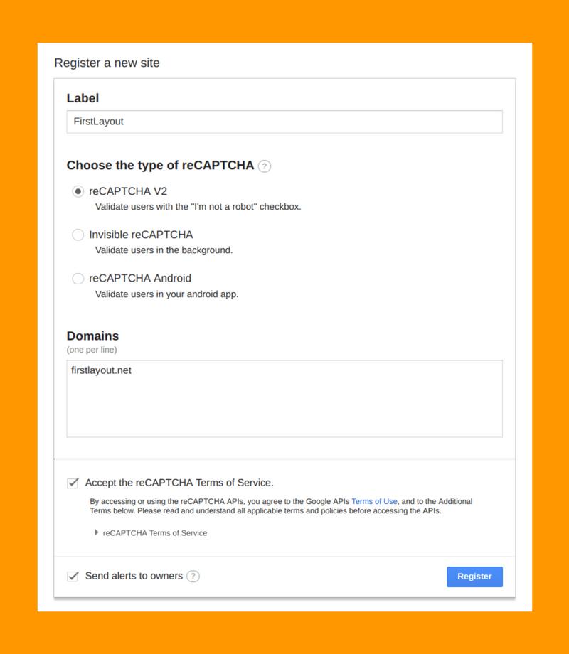 reCAPTCHAの登録画面