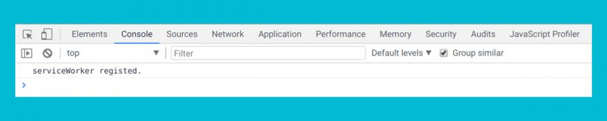 ChromeデベロッパーツールのConsole タブで確認できるService Worker登録の成功